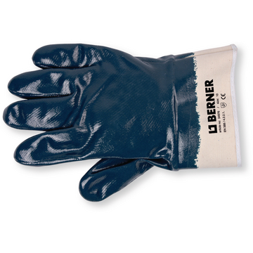 Knitted glove full blue nitrile coated, size 10